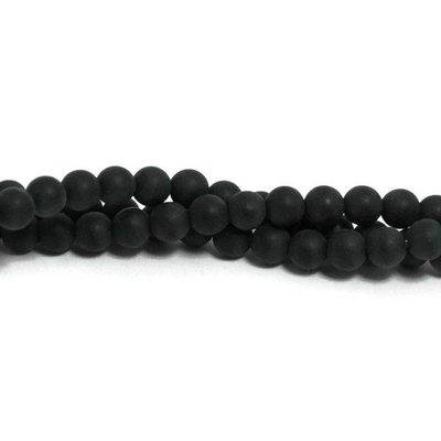 Agaat - mat zwarte agaat kralen 4 mm (streng)