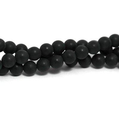 Agaat - mat zwarte agaat kralen 6 mm (streng)