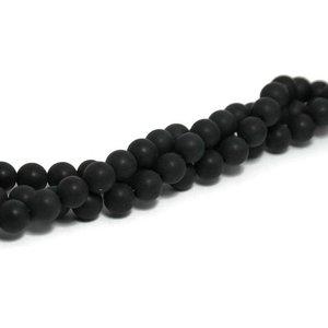Agaat - mat zwarte agaat kralen 8 mm (streng)
