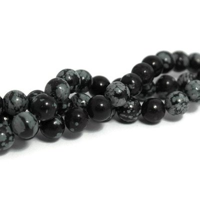 Sneeuwvlok obsidiaan kralen 8 mm rond (halve streng)