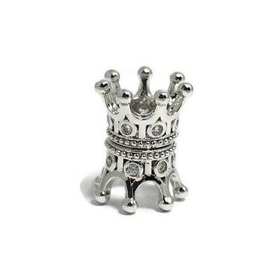 Metalen kralen kroontje zilverkleur (p/st)