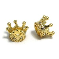 Metalen kralen kroontje goudkleur (p/st)