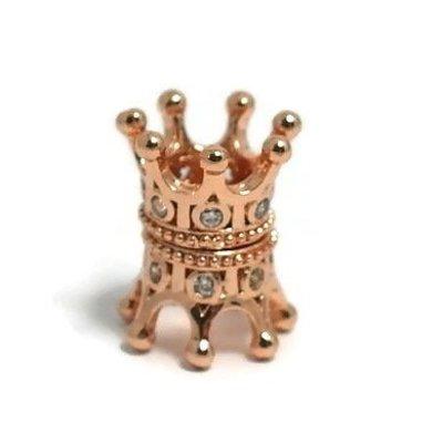 Metalen kralen kroontje rosé goudkleur (p/st)