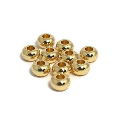 Metalen kralen 6x4 mm goudkleur (10st)