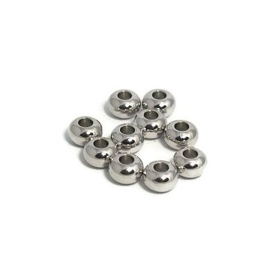 Metalen kralen 6x4 mm antiek zilverkleur (10st)