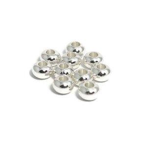 Metalen kralen 6x4 mm zilverkleur (10st)