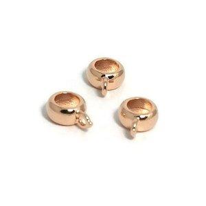 Metalen kralen ring met oog rosé goudkleur (p/st)