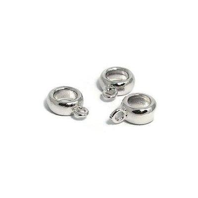 Metalen kralen ring met oog zilverkleur (p/st)
