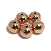 Metalen kralen 10 mm rond rosé goudkleur (5st)