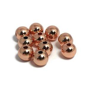 Metalen kralen 6 mm rond rosé goudkleur (10st) - groot rijggat
