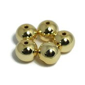 Metalen kralen 10 mm rond goudkleur (5st)