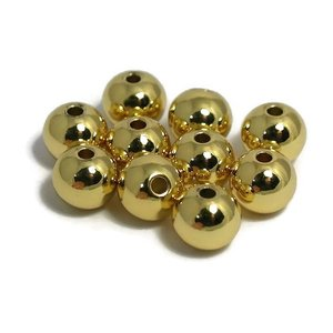 Metalen kralen 8 mm rond goudkleur (10st)