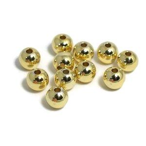Metalen kralen 6 mm rond goudkleur (10st)