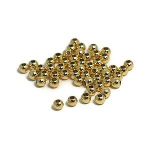 Metalen kralen 3 mm rond goudkleur (50 st)