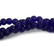 Jade kralen 8 mm rond indigo (streng)