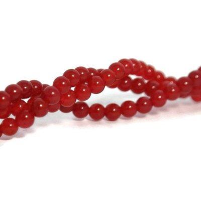 Jade kralen 4 mm rond imitatie rode agaat (streng)