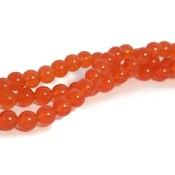 Jade kralen 8 mm rond tomato (streng)