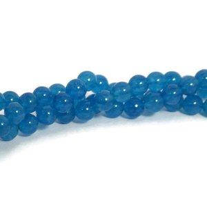 Jade kralen 8 mm rond cornflower blue (streng)