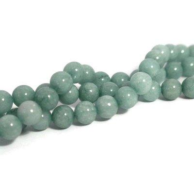 Jade kralen 8 mm rond aquamarine (streng)