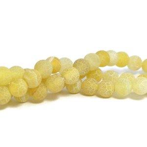 Agaat kralen - effloresce LemonChiffon 8 mm rond (streng)