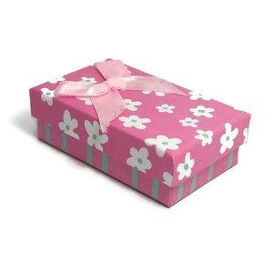Kartonnen sieraden doosje roze (p/st)