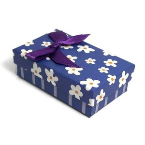 Kartonnen sieraden doosje donkerblauw (p/st)