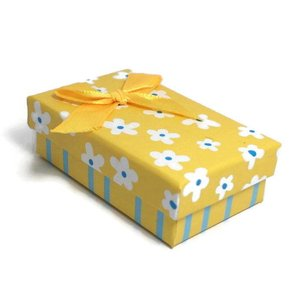 Kartonnen sieraden doosje geel (p/st)