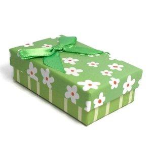 Kartonnen sieraden doosje groen (p/st)