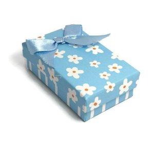 Kartonnen sieraden doosje lichtblauw (p/st)