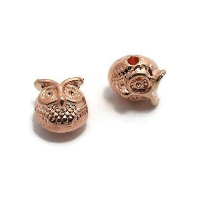 Metalen kralen uil rosé  goudkleur (p/st)
