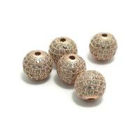 Metalen kralen 10 mm rosé goudkleur met zirconia (p/st)