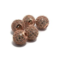 Metalen kralen 8 mm rosé goudkleur met zirconia (p/st)