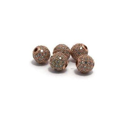 Metalen kralen 6 mm rosé goudkleur met zirconia (p/st)