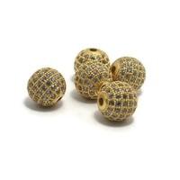Metalen kralen 10 mm goudkleur met zirconia (p/st)