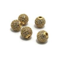Metalen kralen 8 mm goudkleur met zirconia (p/st)