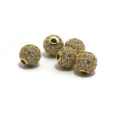 Metalen kralen 6 mm goudkleur met zirconia (p/st)