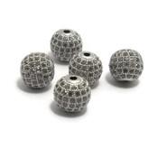 Metalen kralen 10 mm zilverkleur met zirconia (p/st)
