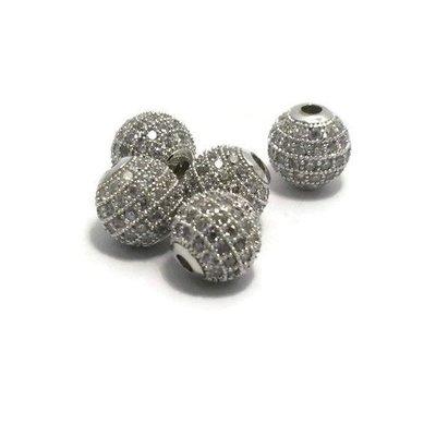 Metalen kralen 8 mm zilverkleur met zirconia (p/st)
