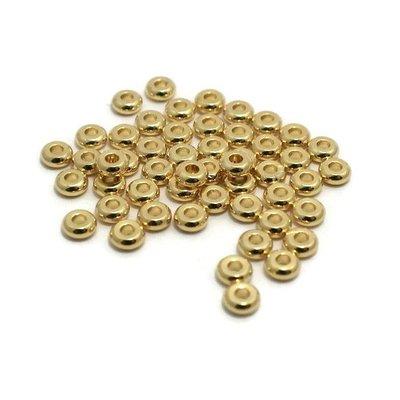 Metalen kralen spacer goudkleur 4x2 mm (zakje 50 st)