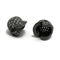 Metalen kralen honkbal helm gunmetal (p/st)