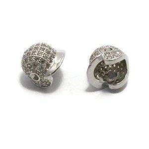 Metalen kralen honkbal helm zilverkleur (p/st)
