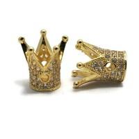 Metalen kralen kroon goudkleur (p/st)