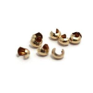 Gold filled 14 kt knijpkraal verberger 4x4 mm