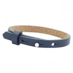 Cuoio armband leer 8 mm dark midnight blue (p/st)