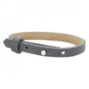Cuoio armband leer 8 mm lava grey (p/st)