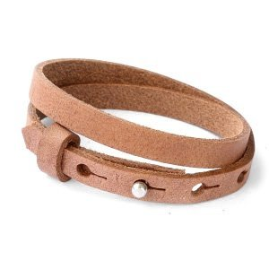Cuoio armband leer 8 mm dubbel auburn brown (p/st)