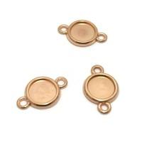 Setting 2-ogen voor 12 mm cabochon rosé goudkleur (p/st)