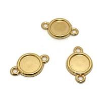 Setting 2-ogen voor 12 mm cabochon goudkleur (p/st)