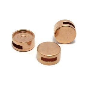 Cuoio schuiver voor 12 mm cabochon rosé goudkleur (p/st)