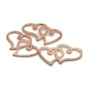 Bedeltjes hart 34x22x2 mm rosé goudkleur (5st)